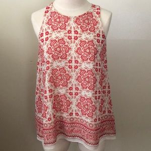 Red and cream flowing Max Studio XS  top